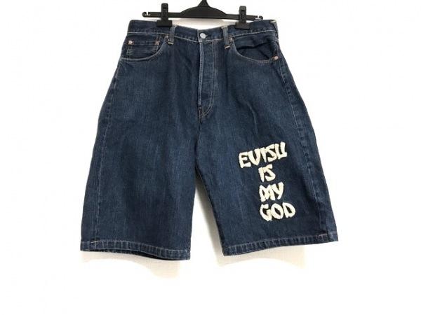 EVISU(エヴィス) ハーフパンツ サイズ35 メンズ ネイビー×アイボリー デニム/2001