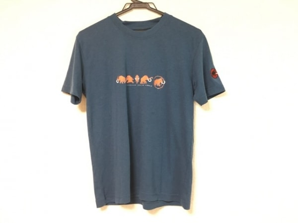 MAMMUT(マムート) 半袖Tシャツ レディース ネイビー×オレンジ×白