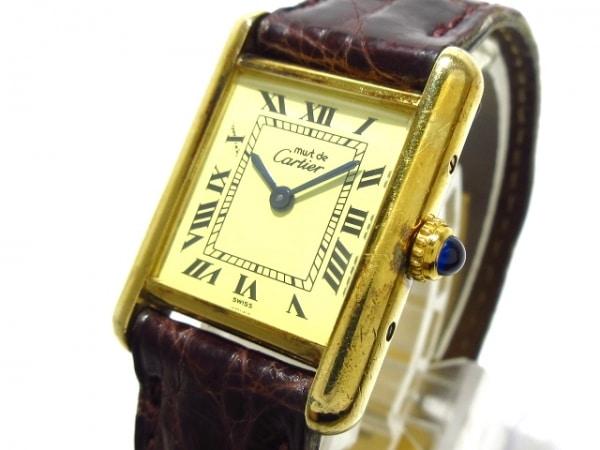 カルティエ 腕時計 マストタンクヴェルメイユSM W1003154 レディース 革ベルト/925
