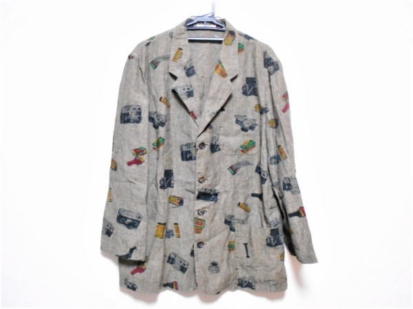 Papas(パパス) ジャケット サイズ48M メンズ ダークグレー×マルチ 春・秋物/カメラ