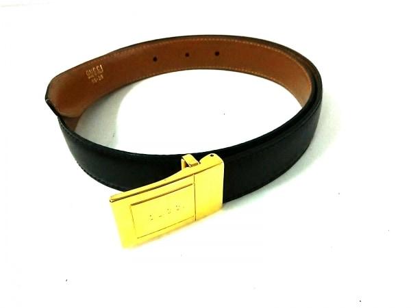 GUCCI(グッチ) ベルト 95・38美品  黒×ブラウン×ゴールド レザー×金属素材