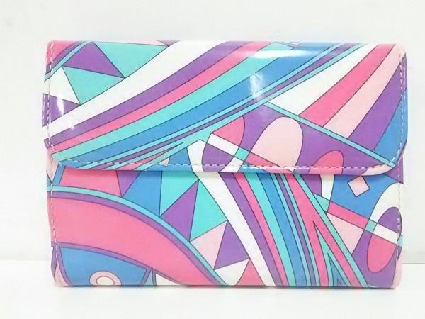 エミリオプッチ Wホック財布美品  ピンク×パープル×マルチ エナメル(レザー)