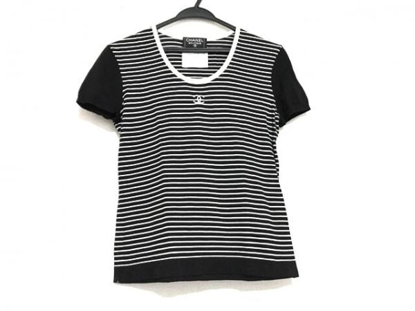 CHANEL(シャネル) 半袖セーター サイズ38 M レディース 黒×白 ボーダー