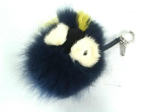 フェンディ キーホルダー(チャーム)美品  バッグバグズ ネイビー×黒×イエロー