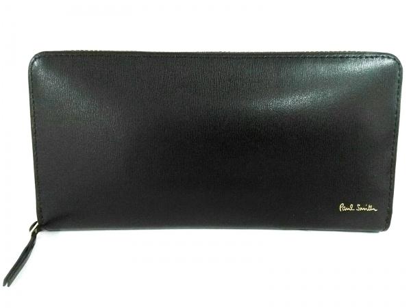 ポールスミス 長財布新品同様  シティエンボス PSC307 黒 ラウンドファスナー レザー