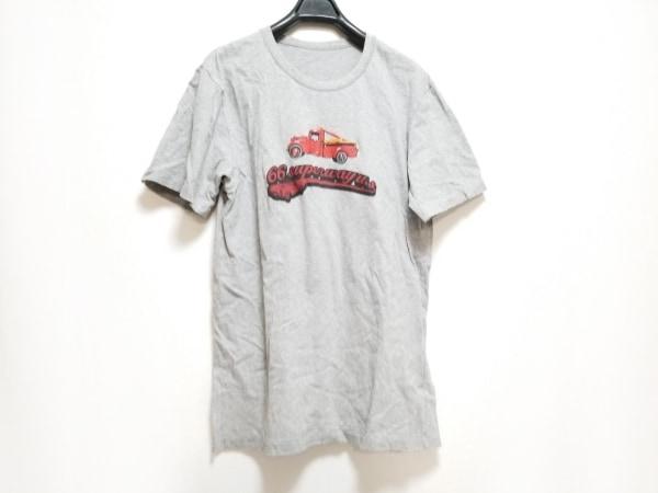 パパス 半袖Tシャツ サイズ46 XL メンズ ライトグレー×レッド×マルチ ダメージ加工