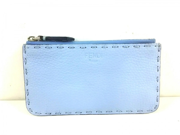 フェンディ コインケース美品  セレリア 8M0388 ライトブルー×ベージュ レザー