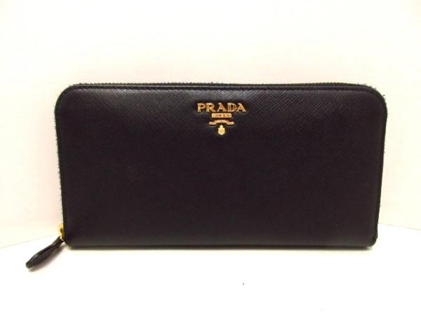 PRADA(プラダ) 長財布 - 1ML506 黒 ラウンドファスナー サフィアーノメタル