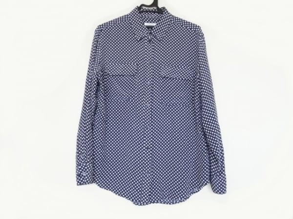 EQUIPMENT(エキプモン) 長袖シャツ サイズS メンズ ネイビー×白 ドット柄