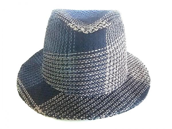 エルメス ハット 59美品  トラヴィス H191047N ノワール・シガール 籐編み/チェック柄
