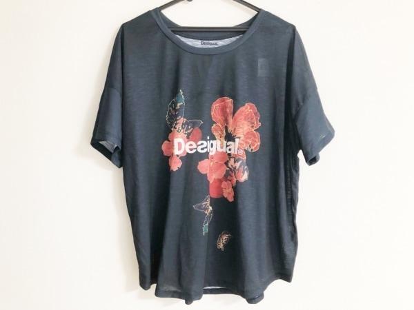 Desigual(デシグアル) 半袖Tシャツ サイズS レディース ダークネイビー×レッド 花柄
