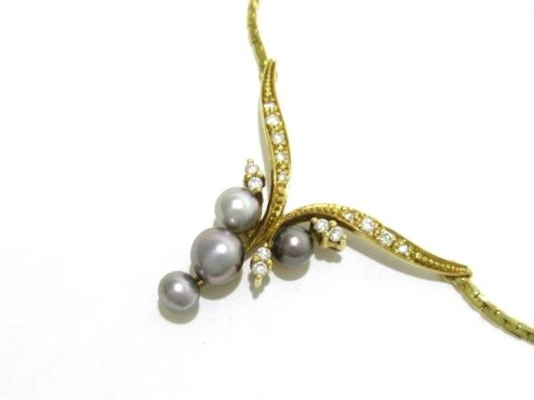ノーブランド ネックレス美品  K18×パール×ダイヤモンド 総重量:9.6g