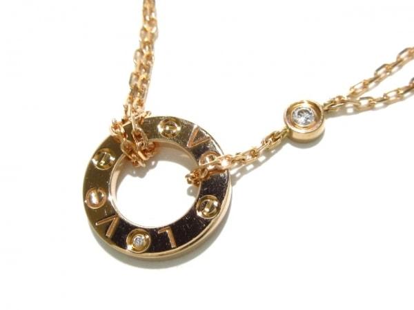 カルティエ ネックレス美品  ラブサークル B7224509 K18PG×ダイヤモンド 2Pダイヤ