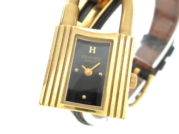 brand new 298ed d7f83 HERMES(エルメス) 腕時計 ケリーウォッチ - レディース 革ベルト/〇Z 黒