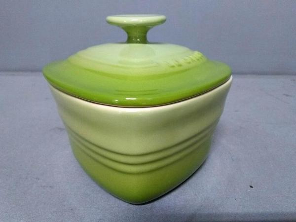 LE CREUSET(ルクルーゼ) 食器新品同様  ライトグリーン ハート/ココット 陶器