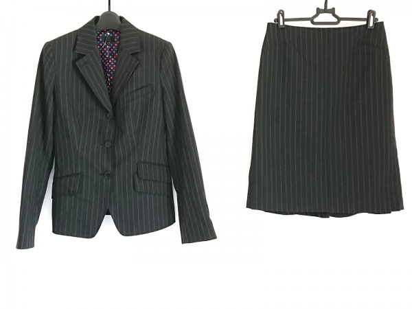 ポールスミスブラック スカートスーツ サイズ40 M レディース美品  黒×マルチ