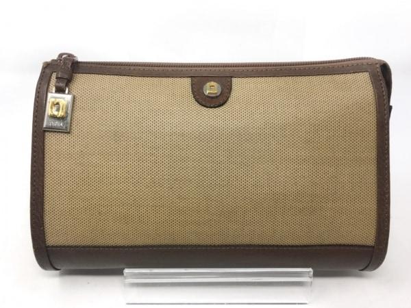 ペレボルサ セカンドバッグ ベージュ×ダークブラウン PVC(塩化ビニール)×レザー