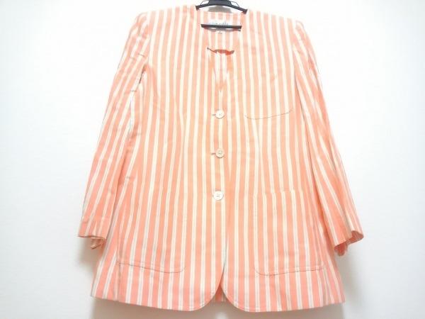 ジュンアシダ ジャケット サイズS レディース ピンク×白×マルチ ストライプ