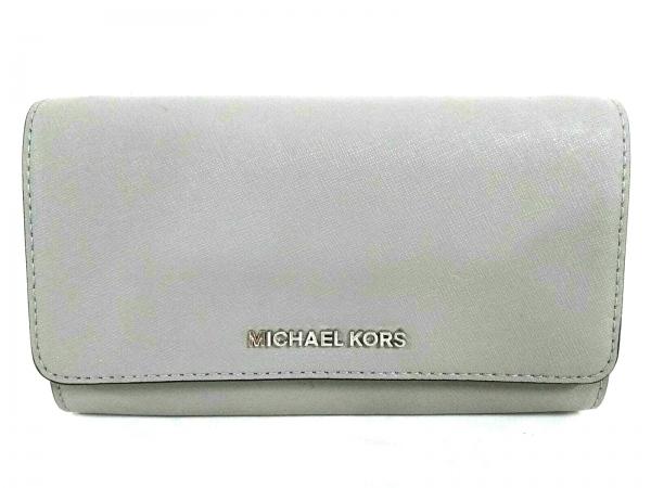 マイケルコース 財布美品  35S8STVC9T グレー チェーンウォレット レザー