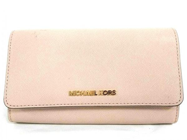 マイケルコース 財布美品  35S8GTVC3L ピンクベージュ チェーンウォレット レザー