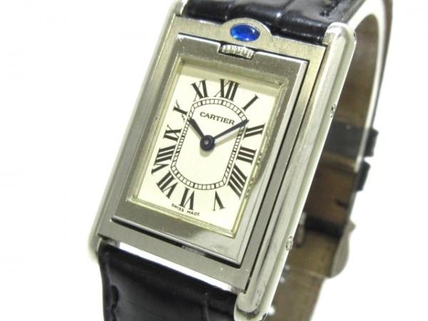 カルティエ 腕時計 タンクバスキュラントSM W1011158 レディース SS/革ベルト 白