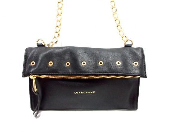 LONGCHAMP(ロンシャン) ショルダーバッグ美品  黒×ゴールド チェーンショルダー