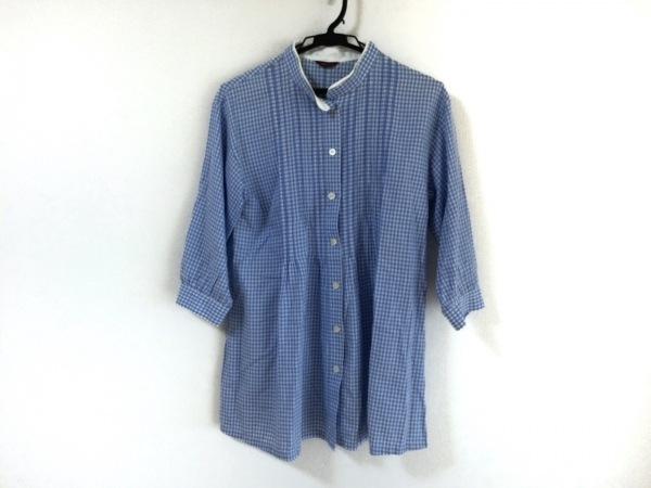 アマカ 七分袖シャツブラウス サイズ38 M レディース ライトブルー×白 チェック柄