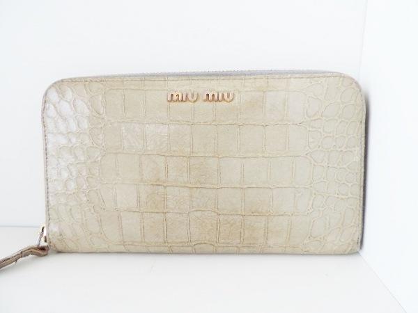 miumiu(ミュウミュウ) 長財布 - ライトグリーン 型押し加工/ラウンドファスナー