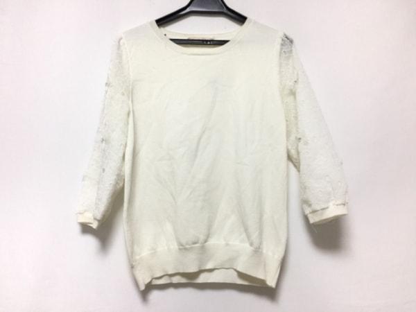アプワイザーリッシェ 七分袖セーター サイズ2 M レディース 白 フラワー/シースルー