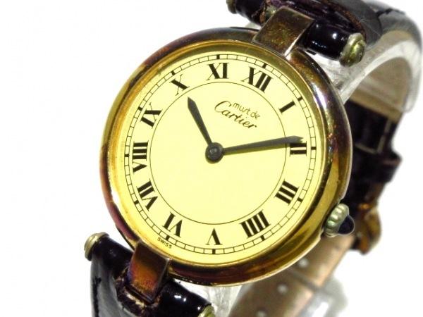 Cartier(カルティエ) 腕時計 ヴァンドーム - レディース 925/社外革ベルト ベージュ