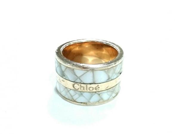 Chloe(クロエ) リング 金属素材×シェル ゴールド×ライトグレー