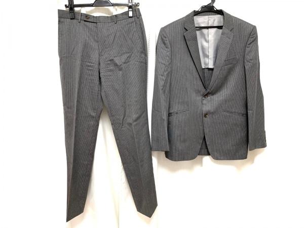 タケオキクチ シングルスーツ メンズ グレー×白 シングル/肩パッド/ストライプ
