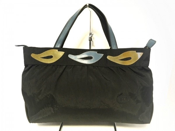 IBIZA(イビザ) ハンドバッグ 黒×ブルー ナイロン×レザー