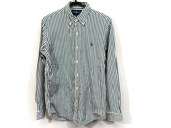 ラルフローレン 長袖シャツ サイズS メンズ 白×グリーン ストライプ/CUSTOM FIT