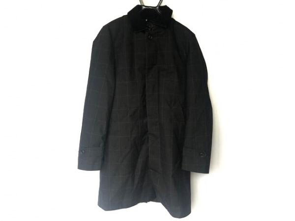 ナノユニバース コート サイズS メンズ美品  グレー×ライトグレー チェック柄/冬物