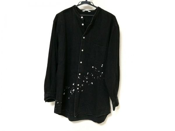 SOE(ソーイ) 長袖シャツ メンズ 黒×白 デニム/ペイント加工