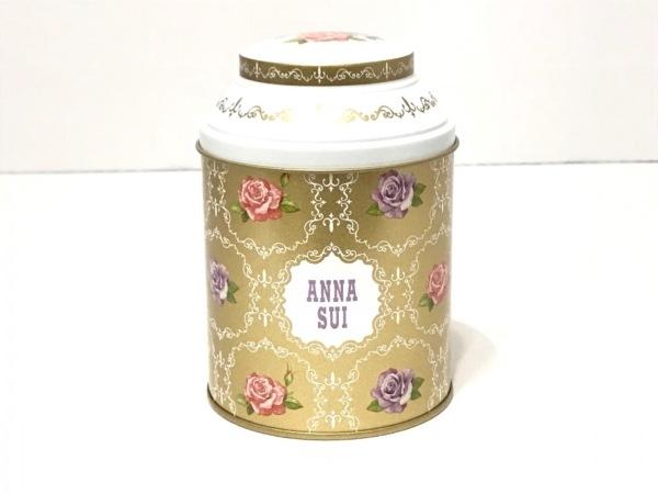 アナスイ 小物入れ美品  ゴールド×マルチ 花柄/ギフトボックス/限定品 ブリキ