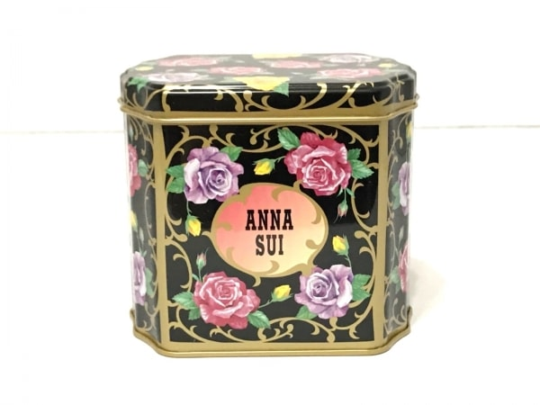 ANNA SUI(アナスイ) 小物入れ 黒×マルチ 花柄/缶 ブリキ