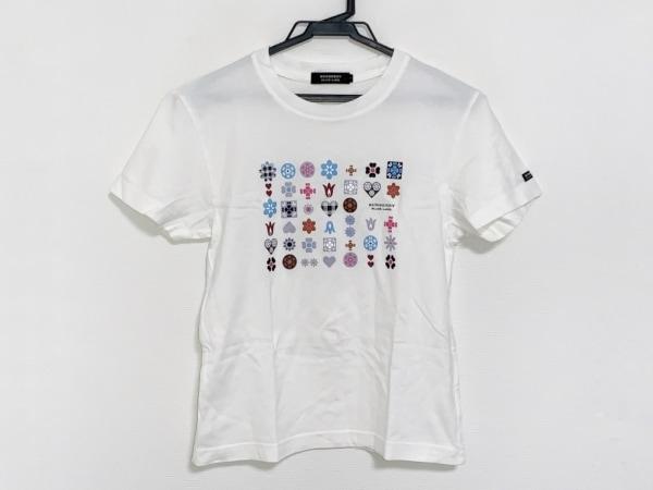 バーバリーブラックレーベル 半袖Tシャツ サイズ1 S メンズ 白×ライトブルー×マルチ