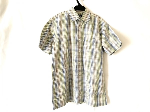 バーバリーロンドン 半袖シャツ サイズL メンズ美品  白×ブルー×マルチ チェック柄