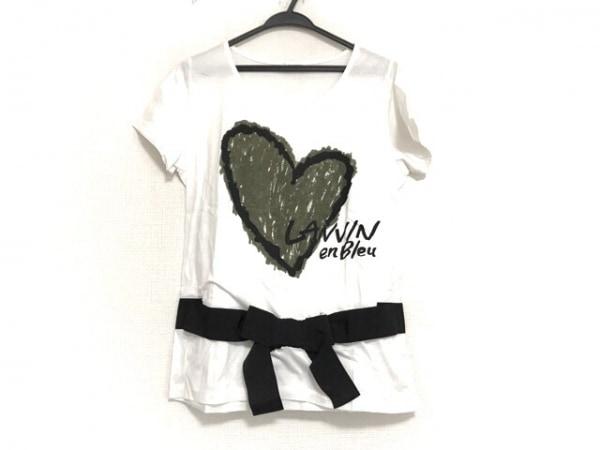 ランバンオンブルー 半袖Tシャツ レディース美品  白×カーキ×黒 ハート