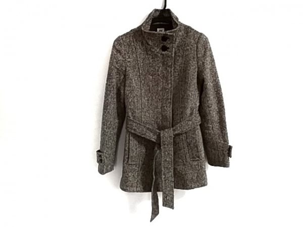 ミッシェルクラン コート サイズ38 M レディース美品  黒×アイボリー 冬物