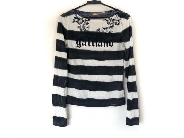galliano(ガリアーノ) 長袖Tシャツ レディース美品  白×黒×ダークネイビー ボーダー