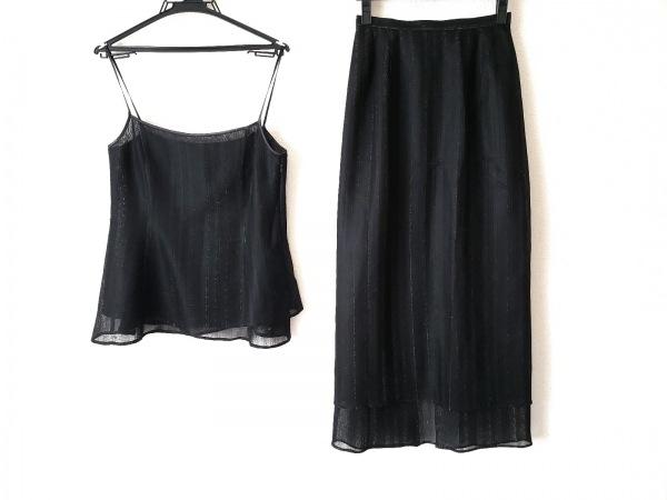 リツコシラハマ スカートセットアップ レディース美品  黒×シルバー ラメ