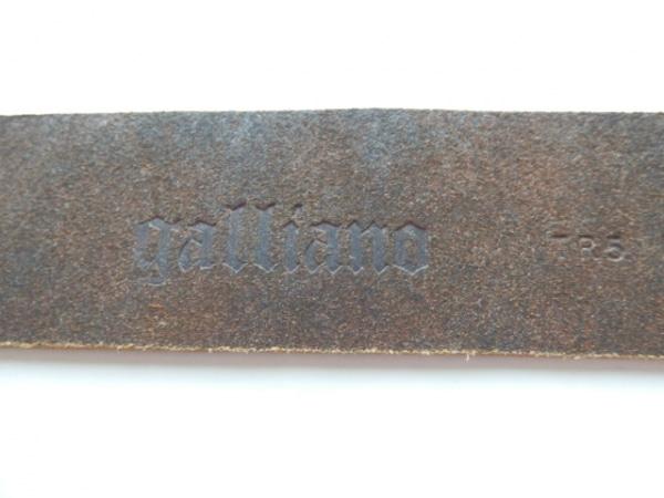 galliano(ガリアーノ) ベルト 38 ダークブラウン×シルバー レザー×金属素材