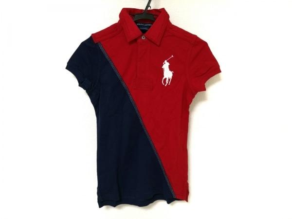 ラルフローレン 半袖ポロシャツ レディース ビッグポニー レッド×ネイビー