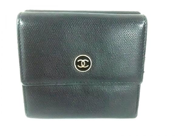CHANEL(シャネル) Wホック財布 ココボタン 黒 レザー