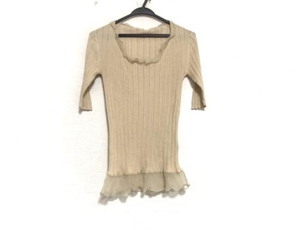HERNO(ヘルノ) 七分袖セーター サイズ46 L レディース美品  ベージュ シースルー