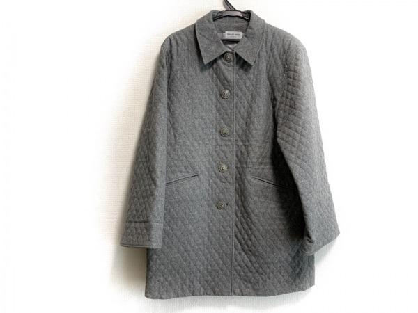ハナエモリ コート サイズM レディース美品  グレー 肩パッド/キルティング/冬物
