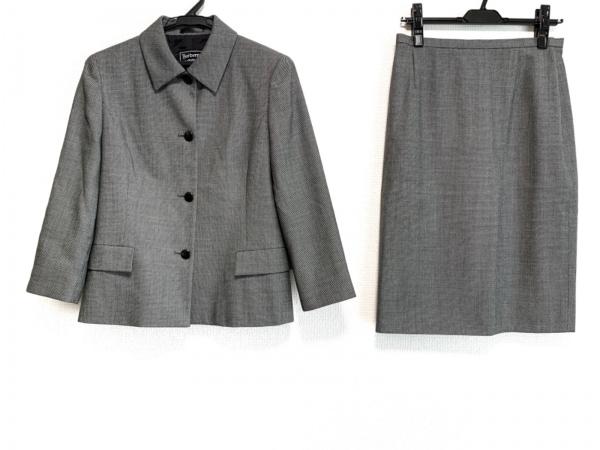 バーバリーズ スカートスーツ サイズ40 M レディース美品  黒×ライトグレー 肩パッド